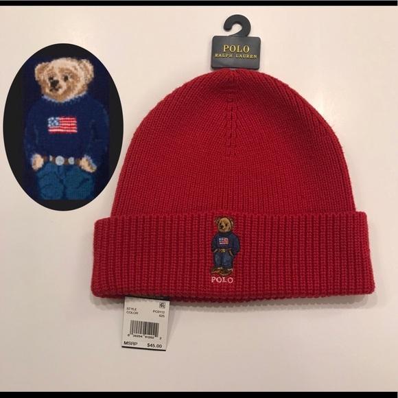 aa90e05a6e9 RARE❗️Red Ralph Lauren Polo Bear USA Flag Beanie